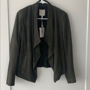 NWT Joie goat leather olive green jacket